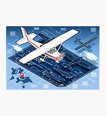 Isometric Infographic Airplane Blue Print Photographic Print