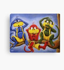 Three Wise Color Monkeys Canvas Print