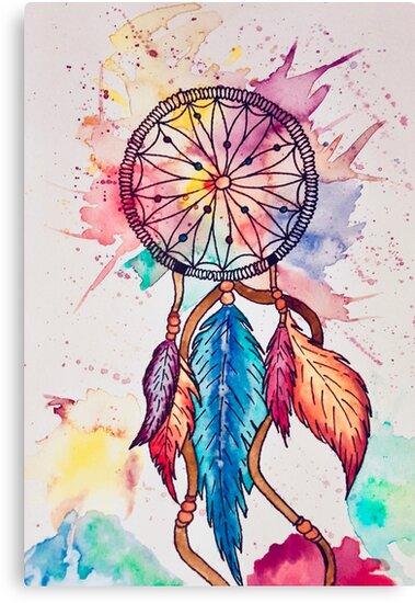 Dreamcatcher Watercolor Watercolor Dream Catcher Canvas Prints By Best Water Color Dream Catcher