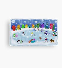 Snowy Night Frozen Fun  Canvas Print