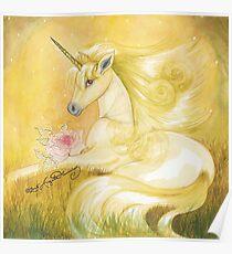 Unicorn In Golden Dusk Poster