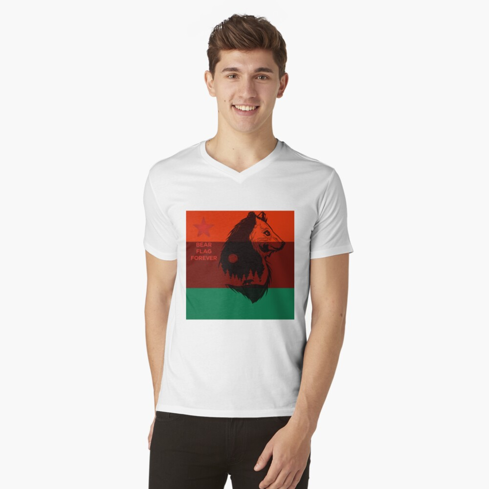 Bear Flag Forever 2 Mens V-Neck T-Shirt Front