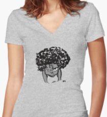 Annoyed Little Girl Women's Fitted V-Neck T-Shirt