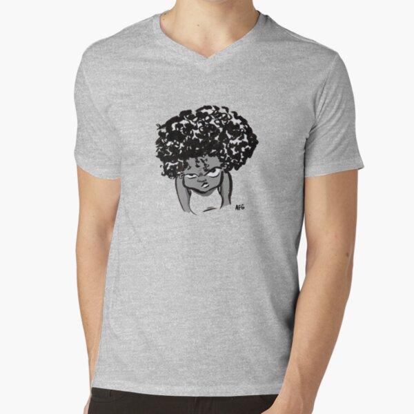 Annoyed Little Girl V-Neck T-Shirt
