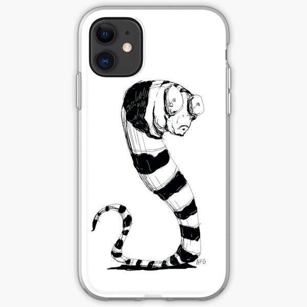 Bug Eyed Black and White Striped Snake...Thing? iPhone Soft Case