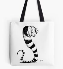 Bug Eyed Black and White Striped Snake...Thing? Tote Bag