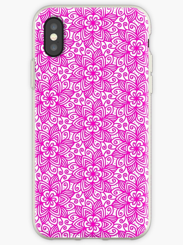 Pink T-Shirt or Phone Cover Abstract Flower Pattern Ornate Flourish Luxury Damask Swirly Leaf Antique Retro Art Old Baroque Renaissance Rococo by IATV