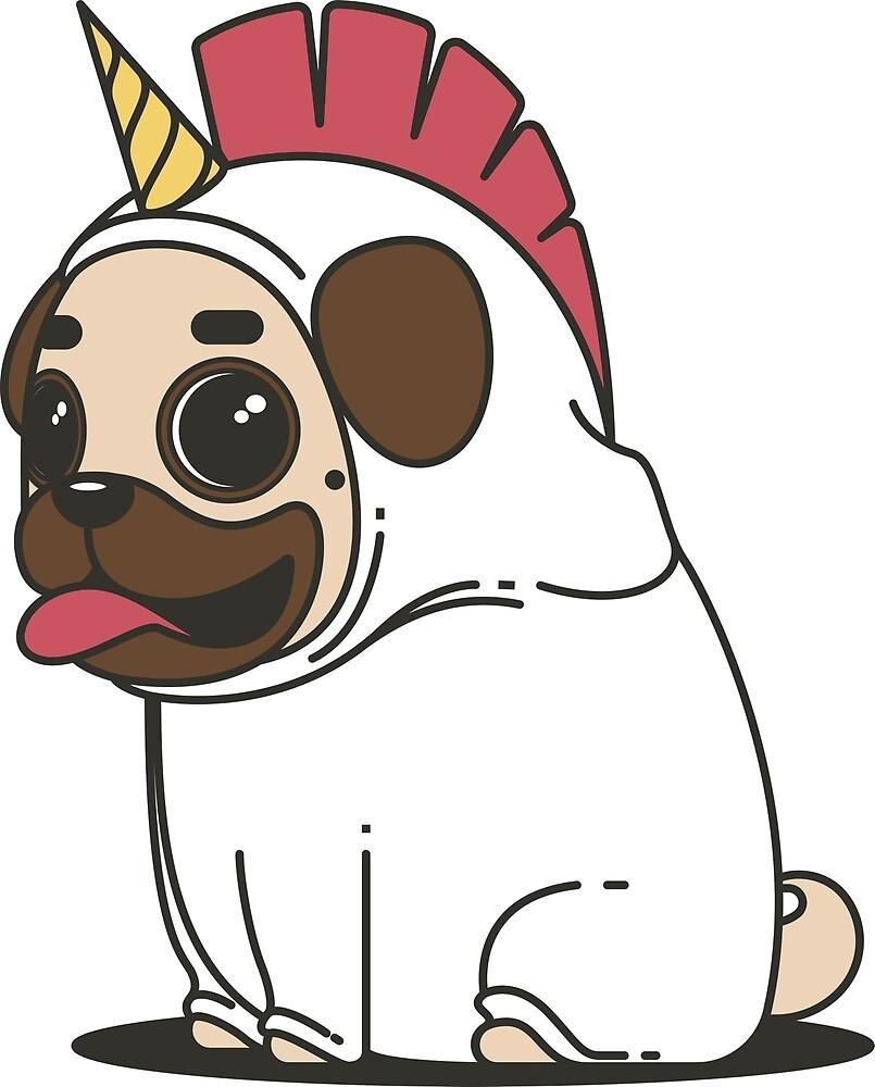Adorable Cartoon Pug Dog by pdgraphics