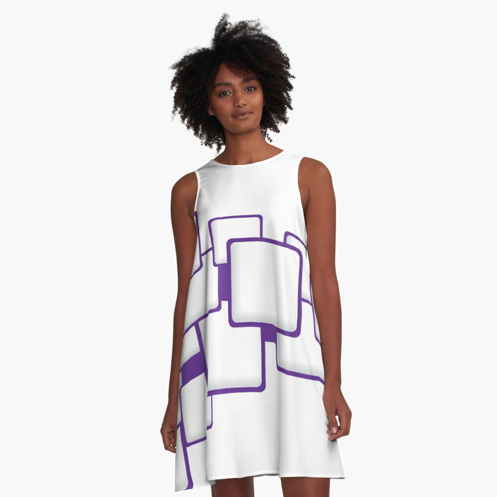 Purple Squares Abstract Art A-Line Dress Front