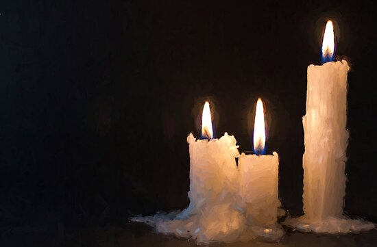 Three White Candles Burning at Night Time by NeonAbstracts