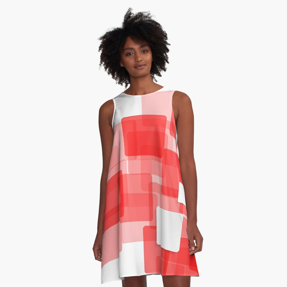 Red Squares Abstract Art A-Line Dress Front