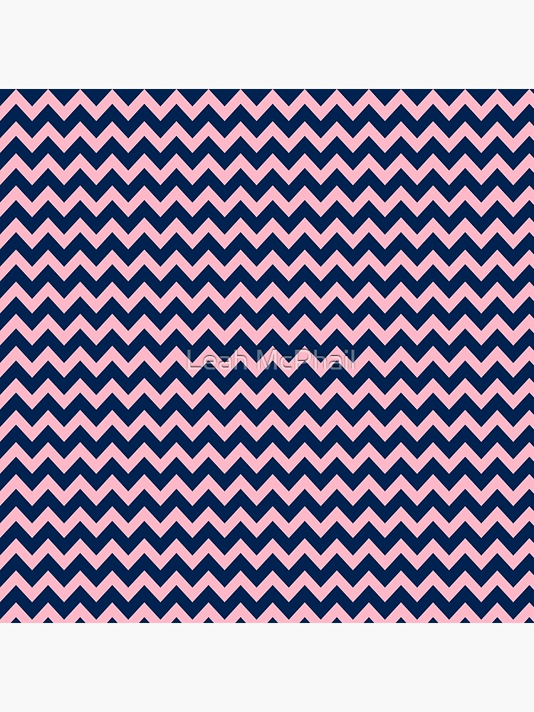 Navy Blue and Pink Chevron Pattern by LeahMcPhail