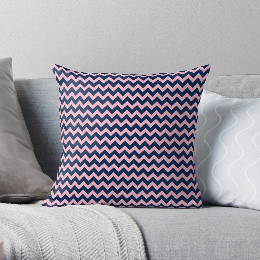 Navy Blue and Pink Chevron Pattern Throw Pillow