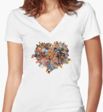 Heart (Baby Birds) Women's Fitted V-Neck T-Shirt