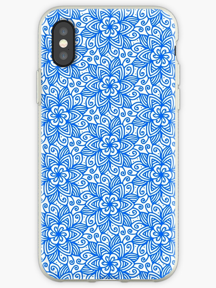 Blue Azure T-Shirt or Phone Cover Abstract Flower Pattern Ornate Flourish Luxury Damask Swirly Leaf Antique Retro Art Old Baroque Renaissance Rococo by IATV