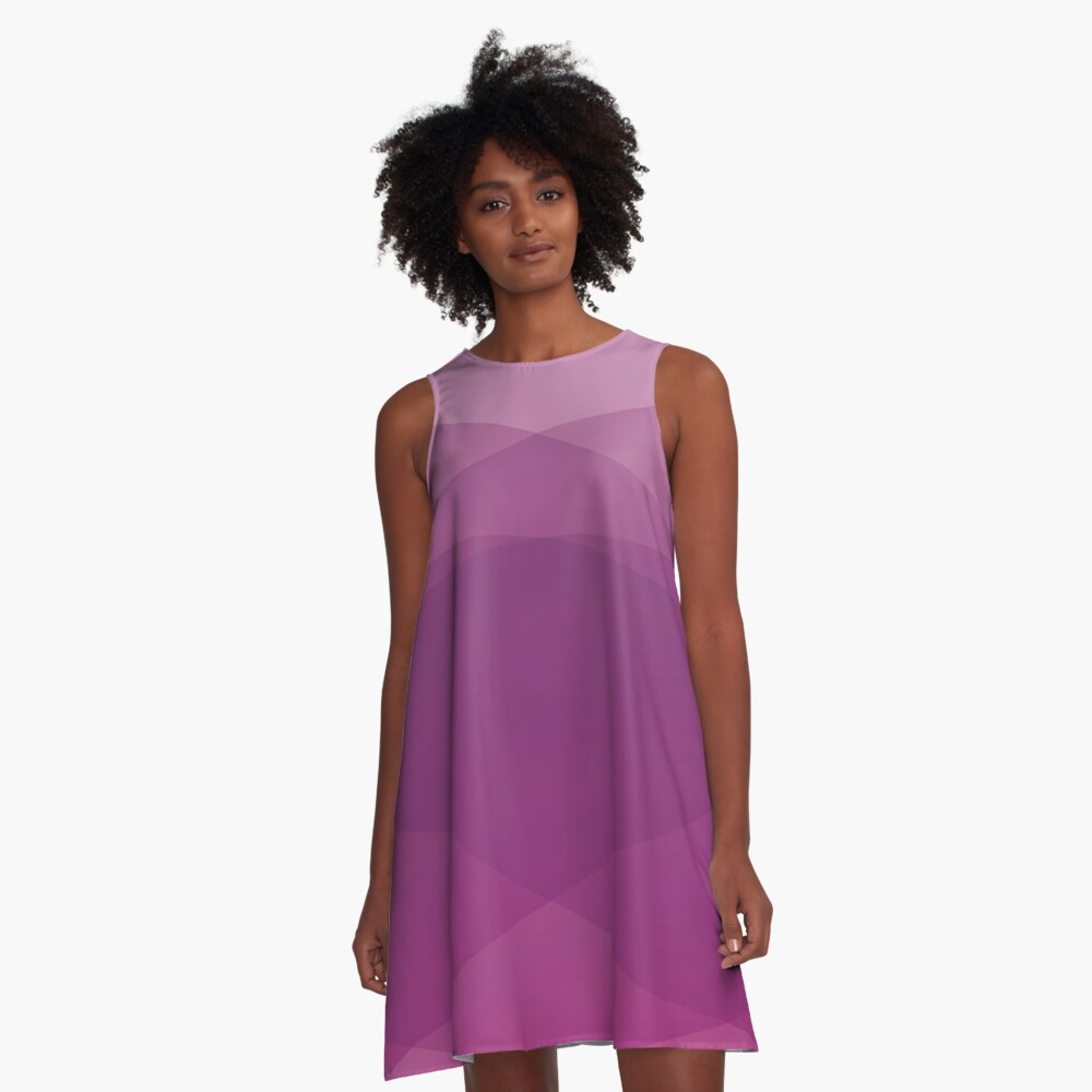 Purple Abstract Art A-Line Dress Front