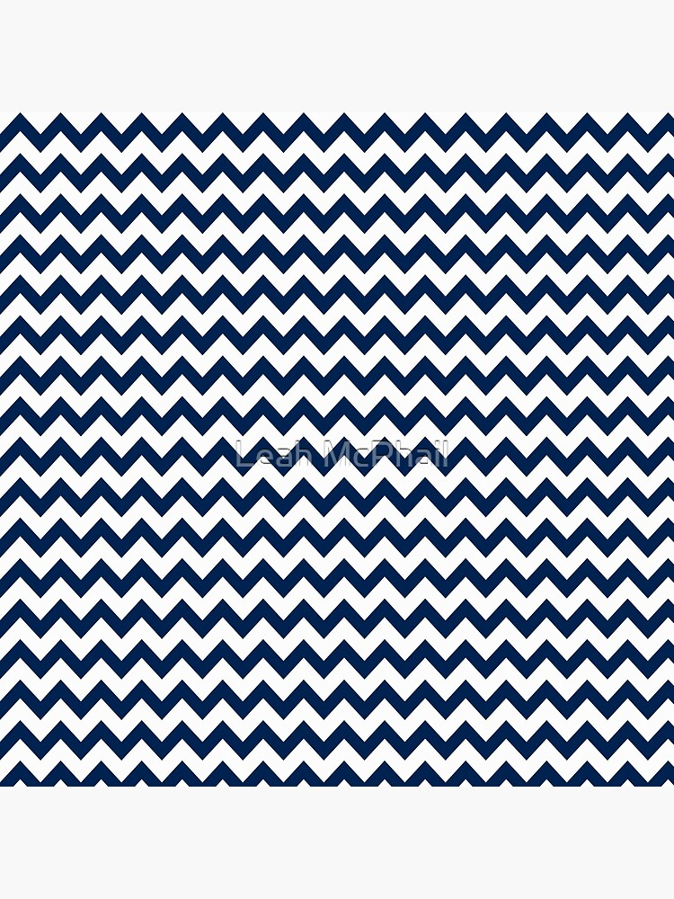 Navy Blue and White Chevron Stripes by LeahMcPhail