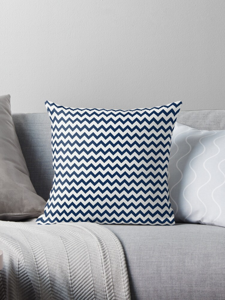 Navy Blue and White Chevron Stripes by Leah McPhail