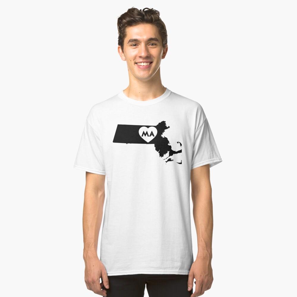 I Love Massachusetts State Classic T-Shirt Front
