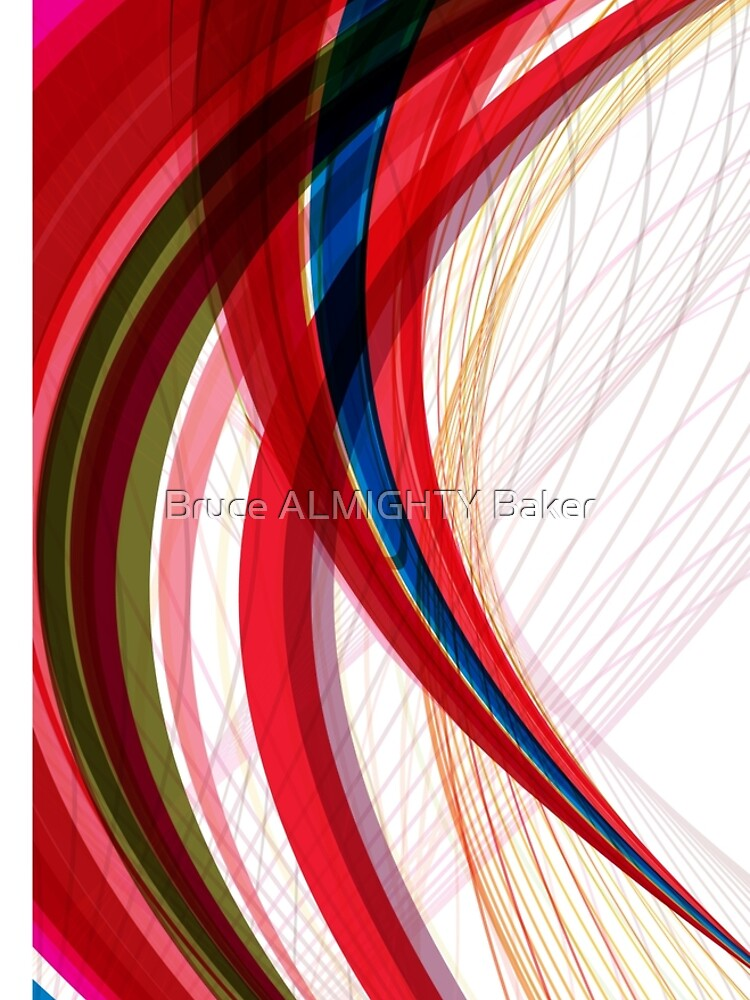 Red Blue Half Circles Abstract Art by BruceALMIGHTY