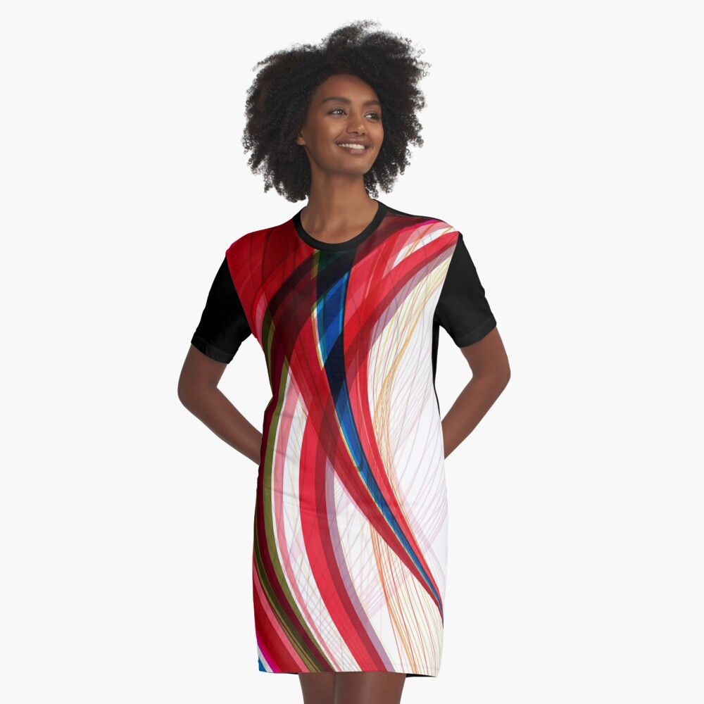 Red Blue Half Circles Abstract Art Graphic T-Shirt Dress Front