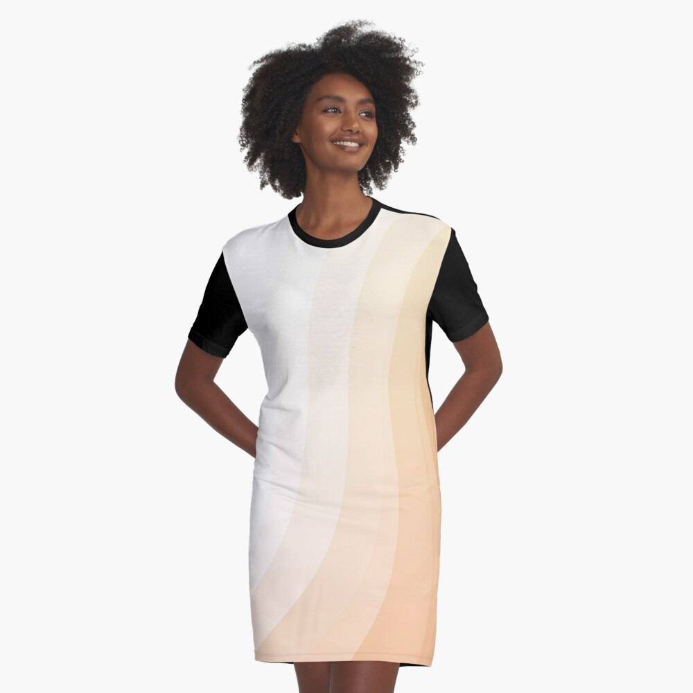 Peach Curves Abstract Art Graphic T-Shirt Dress Front
