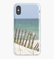 Ocean view through the beach fence iPhone Case/Skin