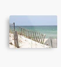 Ocean view through the beach fence Metal Print