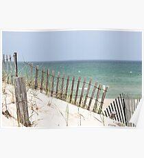 Ocean view through the beach fence Poster