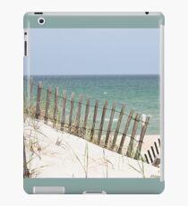 Ocean view through the beach fence iPad Case/Skin
