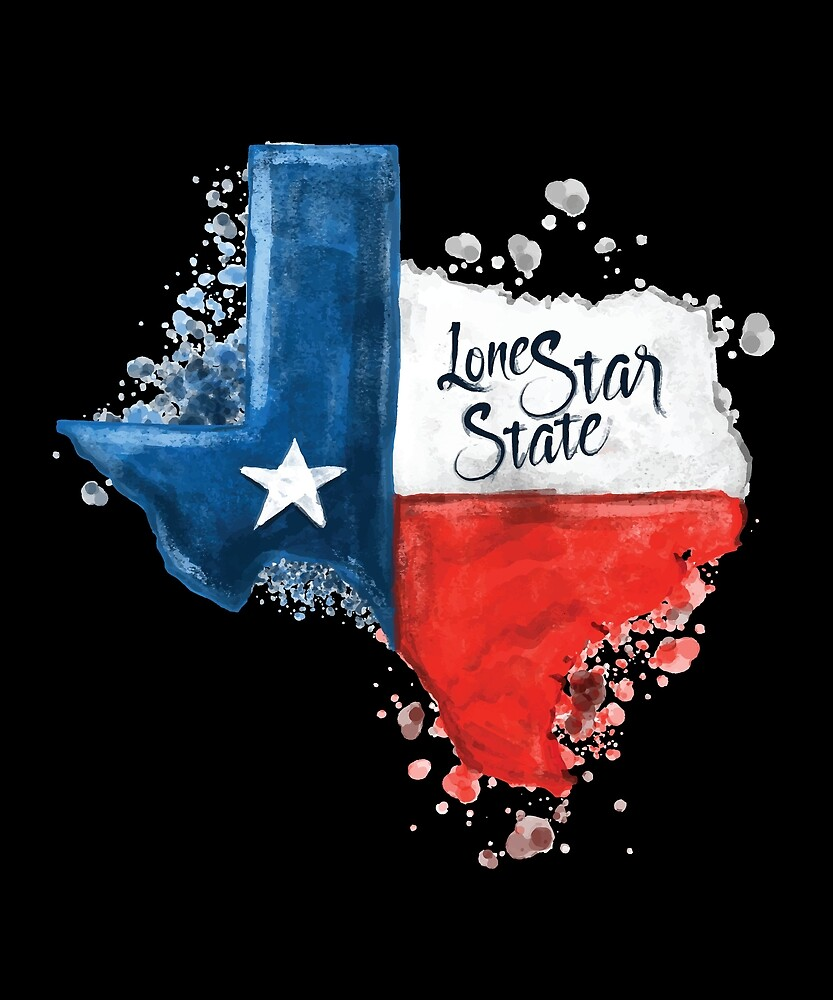 Texas Lone Star State Flag TX Hometown Map by printdesstudios