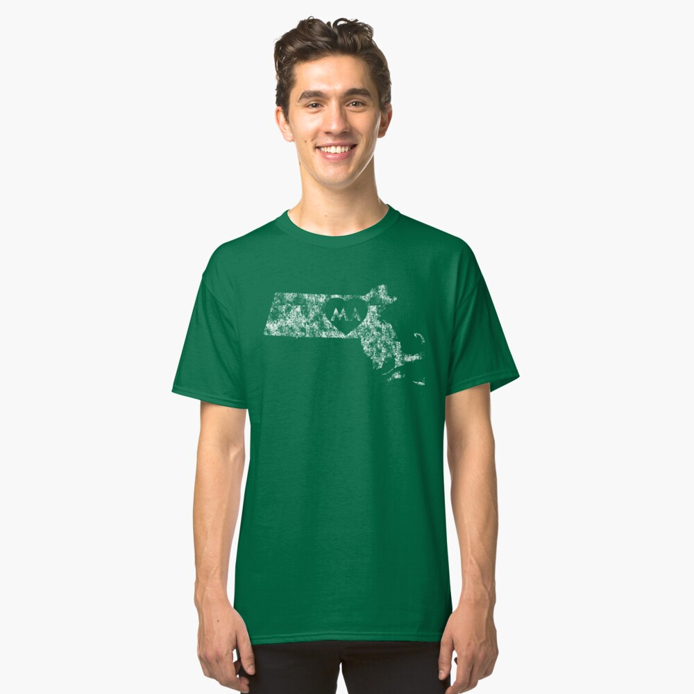 Used I Love Massachusetts State Classic T-Shirt Front