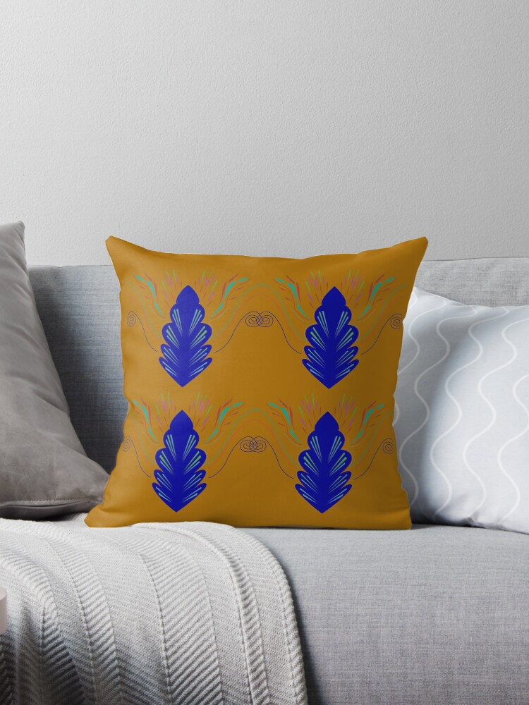 Blue mandalas on gold ethno by Bee and Glow Illustrations Shop