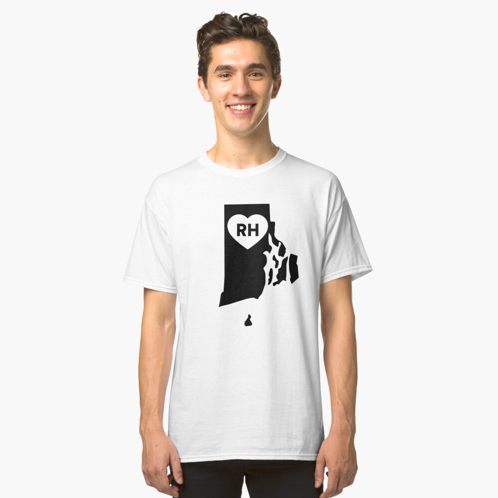 I Love Rhode Island State Classic T-Shirt Front