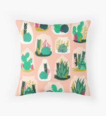 Terrariums - Cute little planters for succulents in repeat pattern by Andrea Lauren Throw Pillow