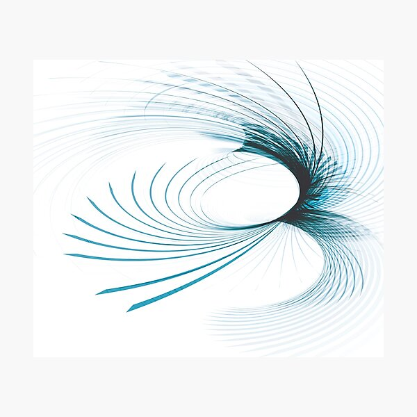 Blue Curved Lines Abstract Art Photographic Print