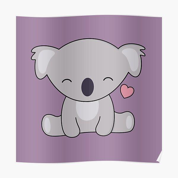 Kawaii Cute Koala ama los corazones Póster