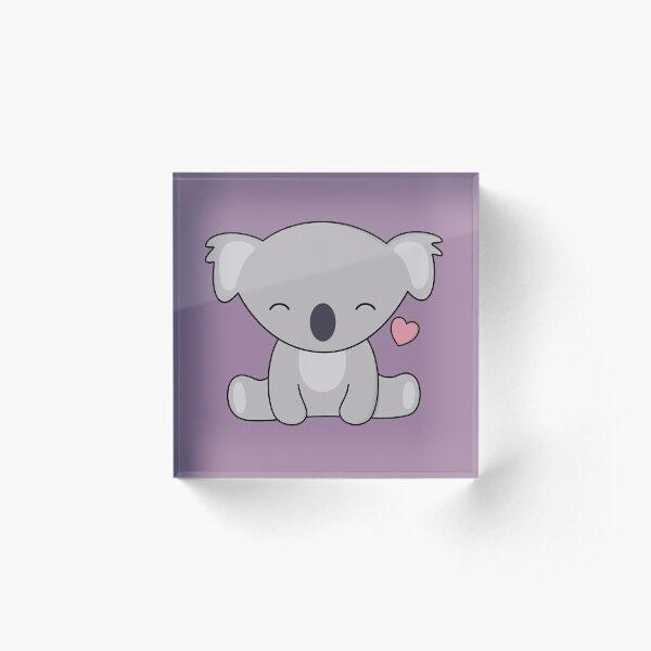 Kawaii Cute Koala Loves Hearts Acrylic Block