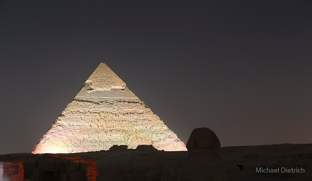 Giza Pyramid at night by Michael Dietrich
