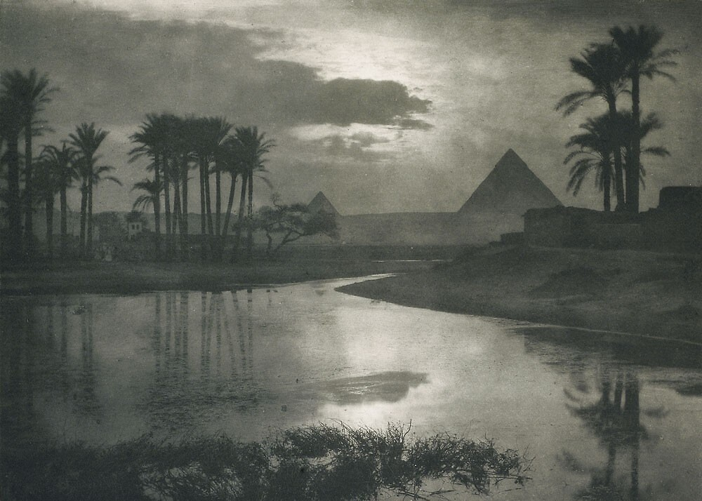 Egypt Pyramid Black and White 1800's by LifeLikeApparel