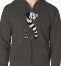Bug Eyed Black and White Striped Snake...Thing? Zipped Hoodie