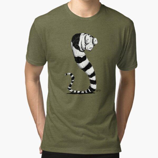 Bug Eyed Black and White Striped Snake...Thing? Tri-blend T-Shirt