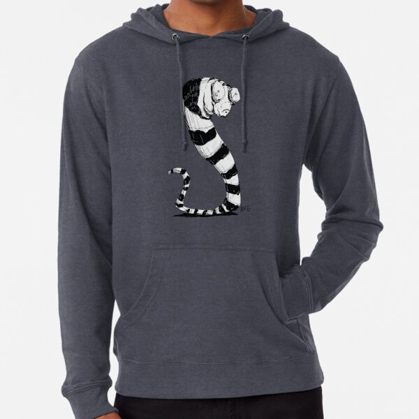 Bug Eyed Black and White Striped Snake...Thing? Lightweight Hoodie