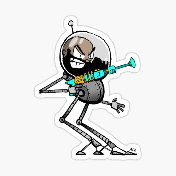 Space Aaron Robot Glossy Sticker