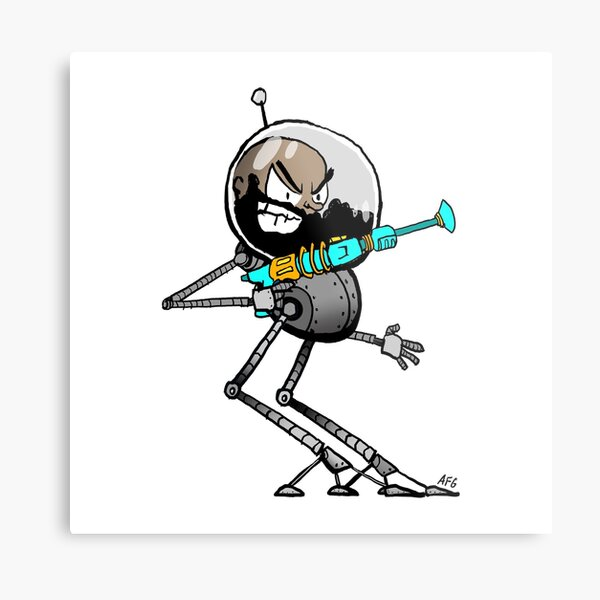 Space Aaron Robot Metal Print
