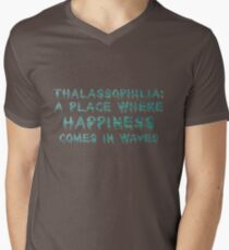 Thalassophilia A Place Where Happiness Comes In Waves Men's V-Neck T-Shirt