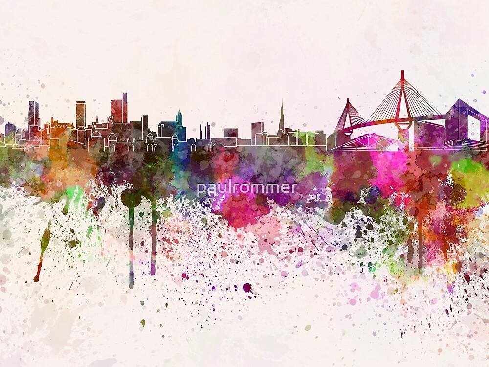 Hamburg skyline in watercolor background by paulrommer