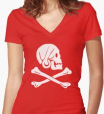 Henry Every Pirate Flag Women's Fitted V-Neck T-Shirt