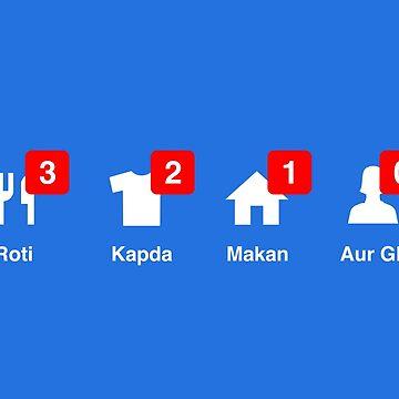 Roti Kapda Makaan aur GF notifications by tshirtbaba