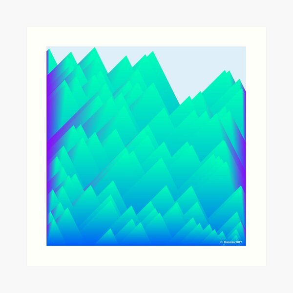 Teal Mountains - Generative Mathematical Art Art Print